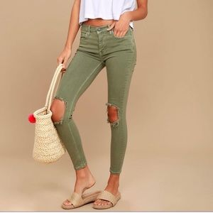 Free people green ripped jeans